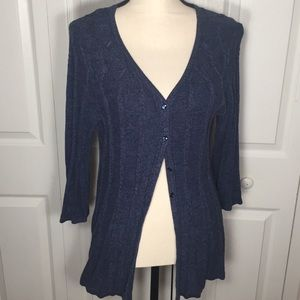 Swing cardigan with cable pattern